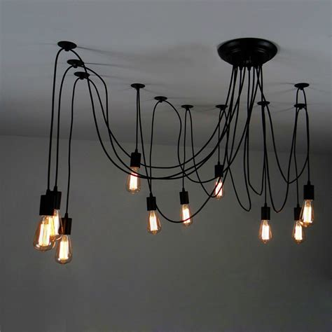 Multi Bulb Hanging Light Fixture 10 Light Adjustable Swag Pendant Black Pendant Lights Ceiling Lights Lighting