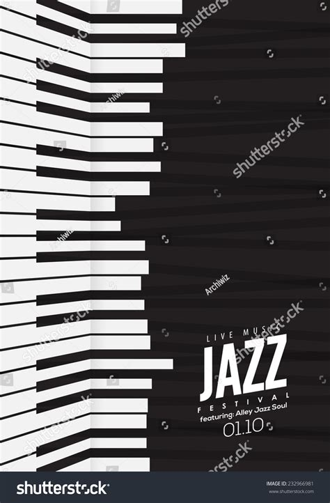 Jazz Music Poster Background Template Piano Stock Vector 232966981 Shutterstock Piano Website Template