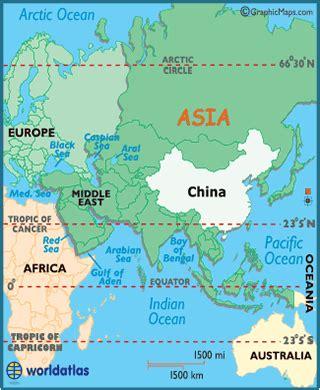 china latitude, longitude, absolute and relative locations