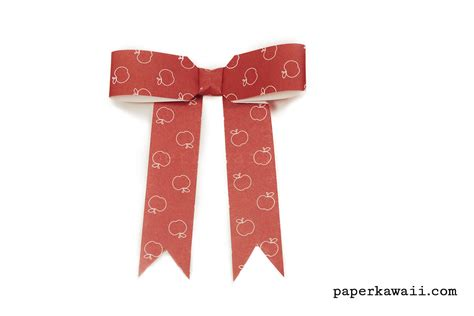 Ribbon Origami Tutorial - origami bow ribbon with tails tutorial paper kawaii