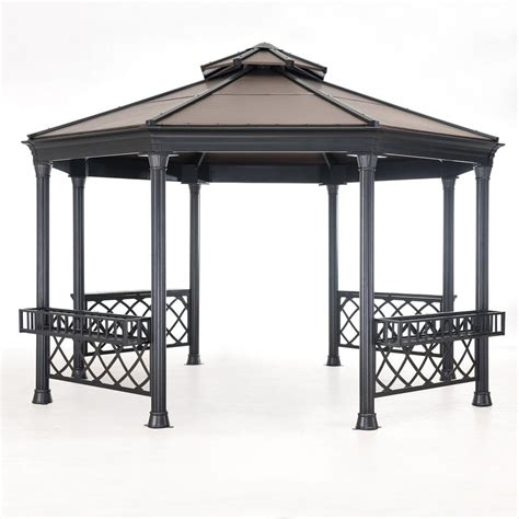 gazebo steel sunjoy birmingham 10 ft x 10 ft polycarbonate top gazebo