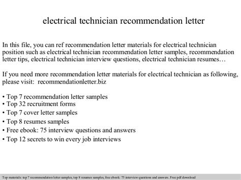 Recommendation Letter For X Technician Electrical Technician Recommendation Letter