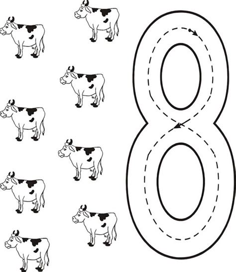 coloring pages for the number 8 learn number 8 with eight cows coloring page bulk color