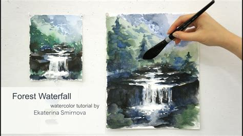 watercolor waterfall tutorial forest waterfall advance watercolor tutorial youtube