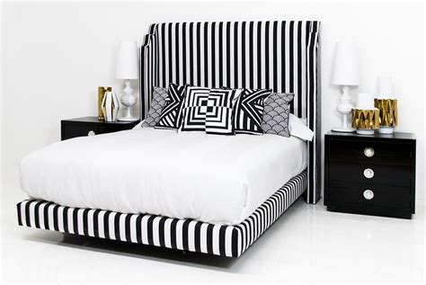 Tiffany Bed In Black And White Stripe Linen Modshop Black And White Striped Headboard