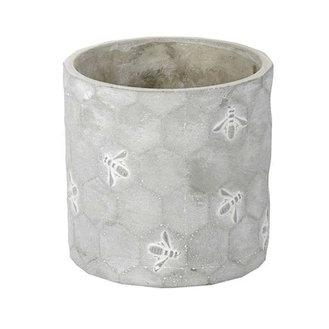 Deco Planters by Parlane Concrete Planter With Honeycomb Bee Deco