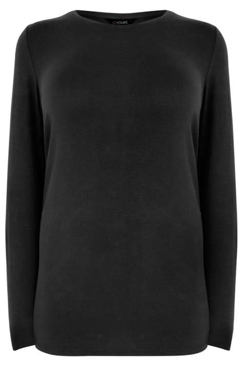 Black Long Sleeve Soft Touch Jersey Top, Plus size 16 to 36