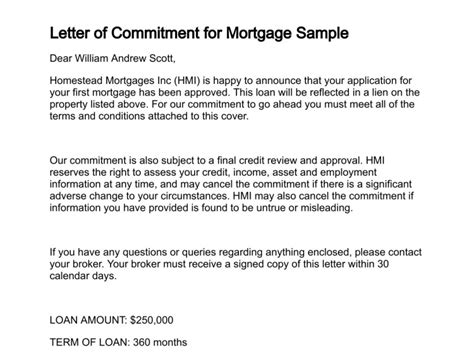 Letter Of Intent For Mortgage Loan Letter Of Commitment