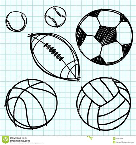 sport ball hand draw on graph paper royalty free stock