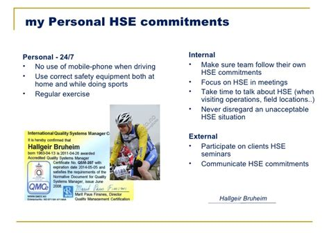 personal hse commitments