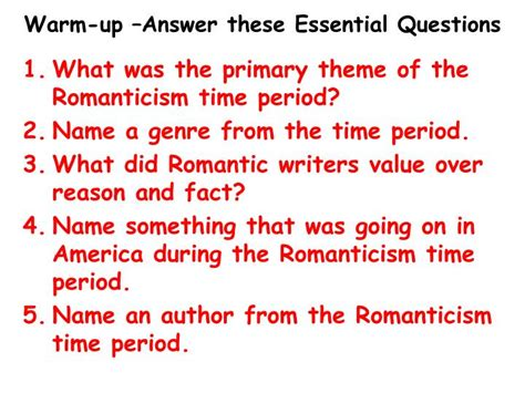 themes of transcendentalism definition ppt warm up answer these essential questions powerpoint
