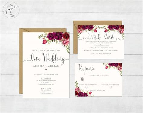 printable wedding invitation suite floral wedding invitation printable wedding invitation