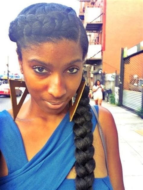 natural hair big braids goddess crown braid can be done with or without