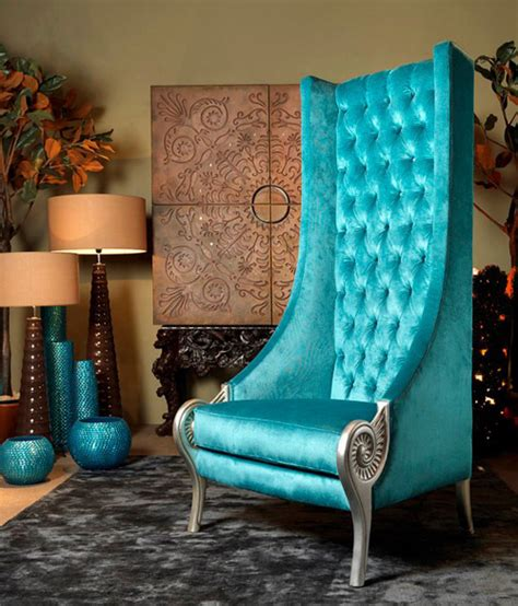 High Backed Throne Chair by Eclectic High Back Chairs Majestic Turquoise Armchair By