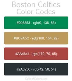 boston celtics colors hex and rgb color codes