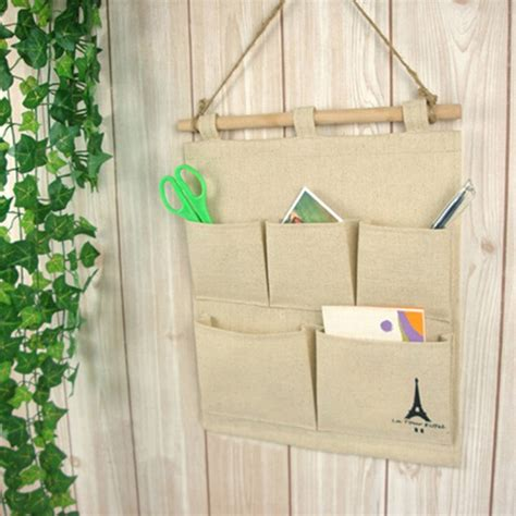 practical jute letters bedroom home wall hanging storage bag organiser 5 pockets ebay practical 5 pockets jute naturally letters wall hanging