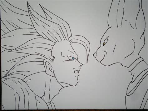 imagenes de goku vs bills drawing dbz battle of gods ssj3 goku vs bill 神々の戦いを描く方法
