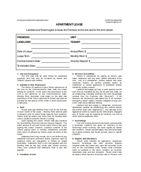 apartment lease agreement template apartment lease template 7 free word pdf documents