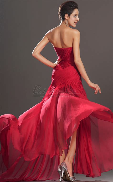 Red Sweetheart Neckline Long Silk Chiffon Mermaid