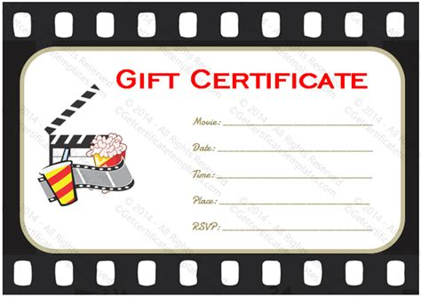 printable movie gift cards go to movie gift certificate template