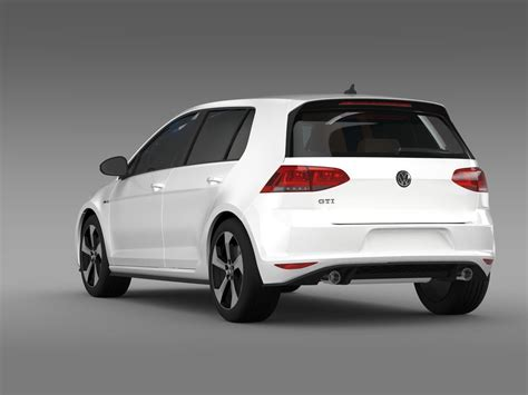 golf gti 5 porte volkswagen golf gti 5 door 2015 3d model max obj 3ds fbx
