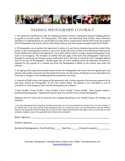 wedding photography contract template marketing business splendid