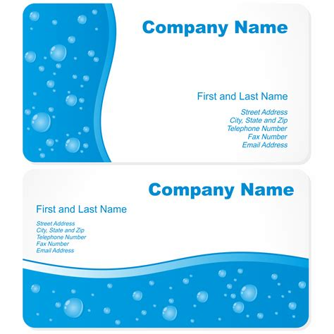 Business Card Free Template by Vector For Free Use Business Cards With Water Drops