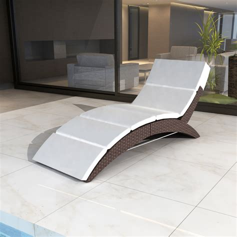 sun bed luxury outdoor rattan sun bed foldable brown garden vidaxl com