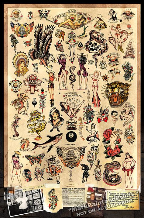 sailor jerry tattoo flash poster print 24x36