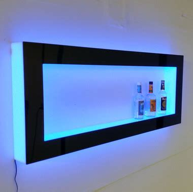 Tv Led Dinding led lighted floating wall shelves
