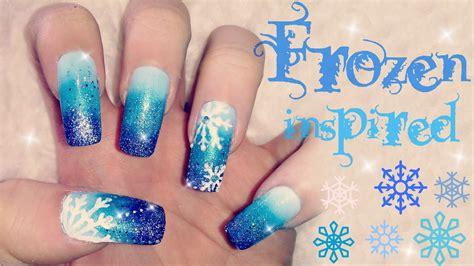 tutorial nail art frozen disney s frozen inspired nail art tutorial youtube