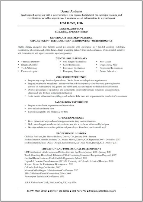 Dental Assistant Resume by 12 Best Dental Cover Letters Images On Resume
