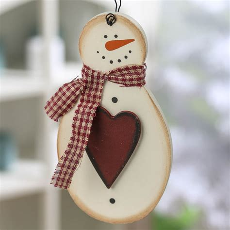 primitive wood snowman ornament christmas and holiday