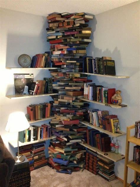a bookshelf made of books the indigo goat