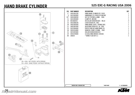 Ktm Parts List 525 Exc G Racing Usa 2006 Spare Parts Manual Chassis