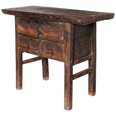 Small Side Tables With Drawers by Antique Elm Brown Small 3 Drawer Side Table For Sale At