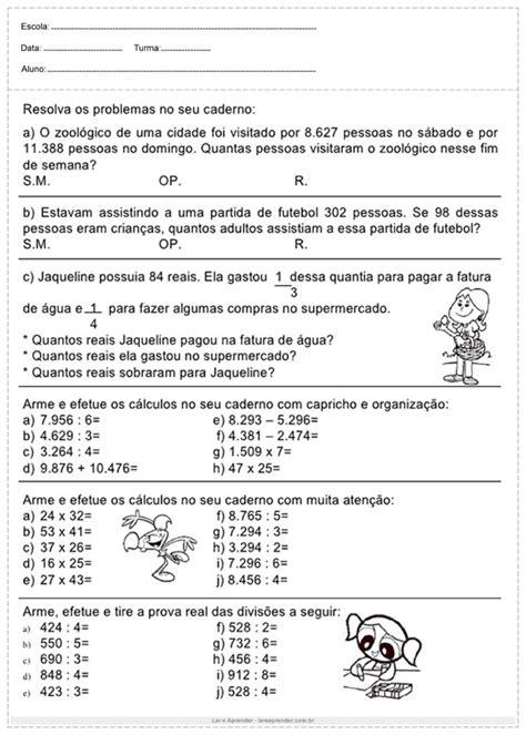 Atividades de matemática do 4º ano - Para Imprimir - Ler e