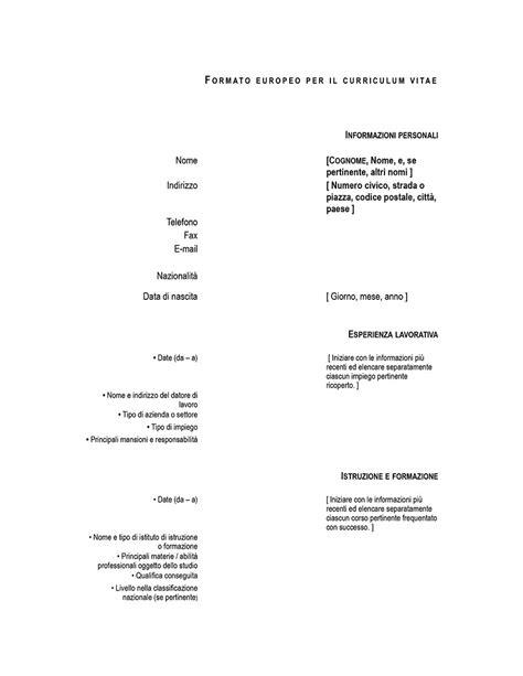 Formato Europeo Curriculum Vitae Editabile Fac Simile Di Curriculum Vitae Europeo Curriculum Vitae 2018