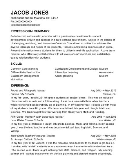 Resume 4th Grade by Best Fifth Grade Fourth Grade Lead Resumes