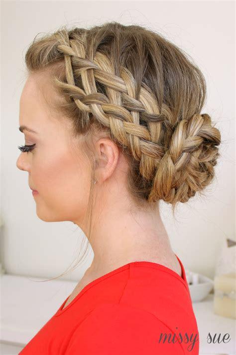 braided hairstyles into a bun waterfall dutch french braided bun