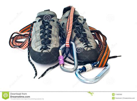 rope climbing shoes carabiners ropes and climbing shoes stock photo image