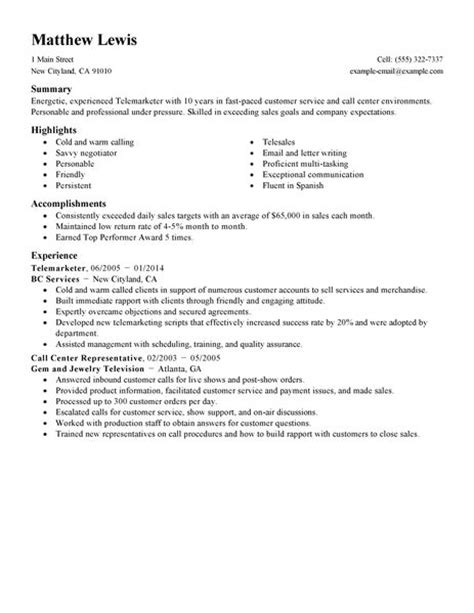 Admin Job Profile Resume by Best Experienced Telemarketer Resume Example Livecareer