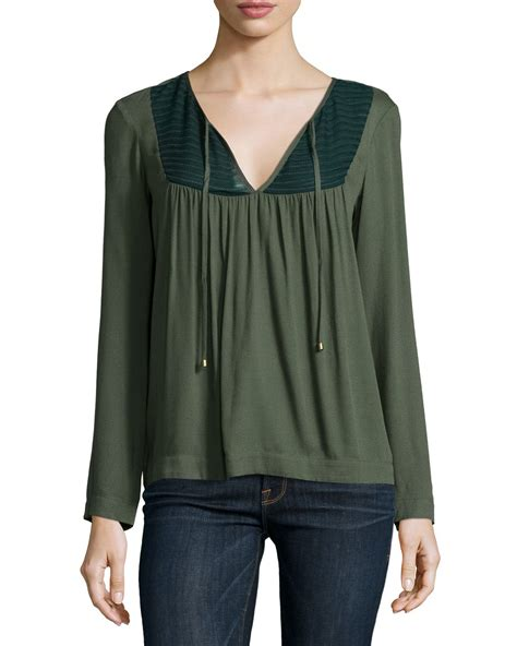 Split Neck Sleeve Top lyst ella moss sleeve split neck top in green