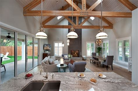 kitchen and dining room open floor plan marvellous open floor plan kitchen dining living room wooden ceiling house plans 39594