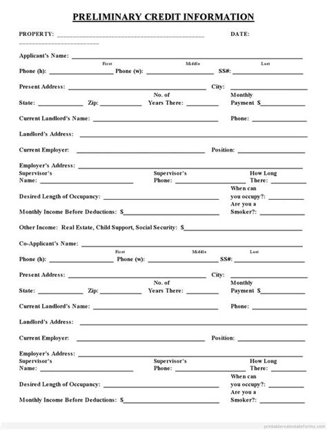 Free Credit Application Template Word Sle Printable Preliminary Credit Application Form Printable Real Estate Forms 2014