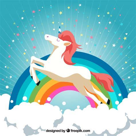 fondo de unicornio feliz brillante descargar vectores gratis fondo de nubes y arcoiris con unicornio feliz descargar
