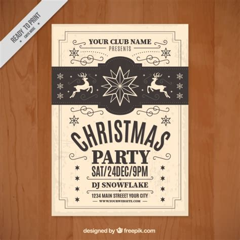 free templates for vintage flyers vintage christmas flyer template vector free download