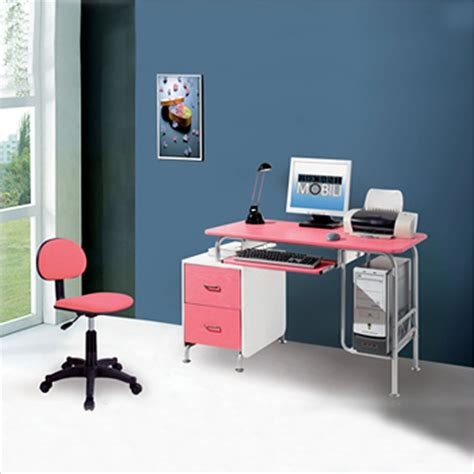 Techni Mobili Wood Computer Desk In Pink And White Rta Pink And White Desk