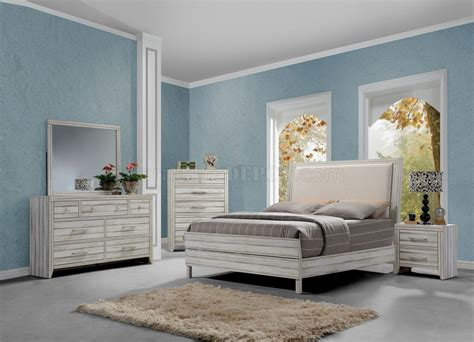 fabric headboard bedroom sets shayla bedroom set 5pc 23980 in antique white w fabric