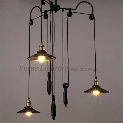 Industrial Pulley Pendant Light Vintage Loft Industrial Pulley Retractable Mirror Pendant Lights Wrought Iron Industrial